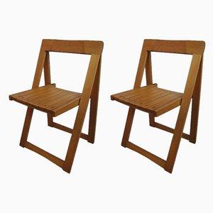 Sillas plegables italianas de madera de Aldo Jacober para Barbro Nilsson, 1966. Juego de 2