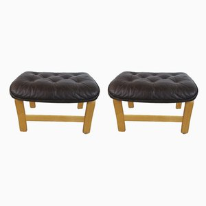 Vintage Danish Beech Ottomans, 1970s, Set of 2