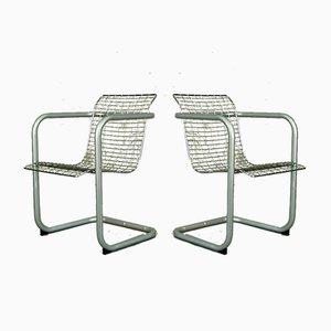 Französische Armlehnstühle aus verchromtem Metall, 1980er, 2er Set