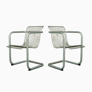 French Chrome Plated Armchairs, 1980s, Set of 2