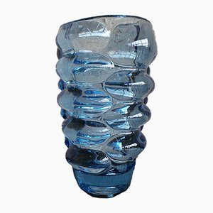 Blue Glass Vase by Vladislav Urban for Hermanova Glassworks, 1962