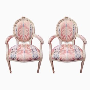 Antique Louis XVI Style Lacquered Armchairs, Set of 2