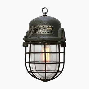 Industrial Grey Cast Aluminium Ceiling Lamp, 1950s