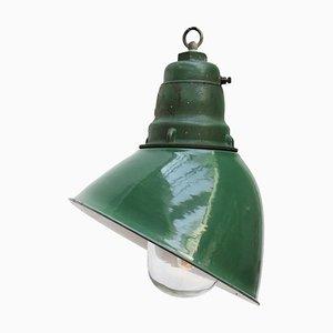 Industrial Green Enamelled Cast Iron Pendant Light, 1950s