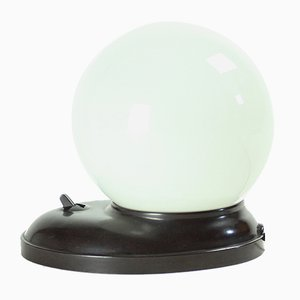 Lampe de Bureau Boule Mid-Century en Bakélite et Verre Opalin Blanc