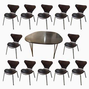Table et Chaises de Salle à Manger en Acier et Wengé de Fritz Hansen, Danemark, 1974