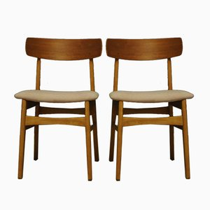 Danish Modern Fabric & Wood Armchairs, 1960s, Set of 2