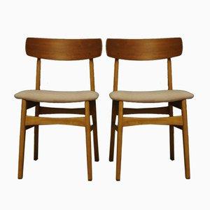 Moderne dänische Stühle mit Stoffsitz & Holzgestell, 1960er, 2er Set