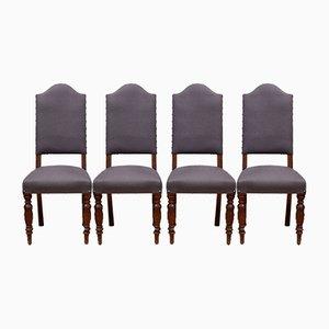 Antike englische Esszimmerstühle, 4er Set