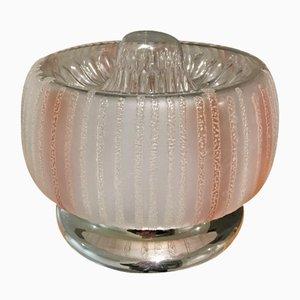 Aplique italiano vintage de cristal de Murano y acero de Mazzega, 1971
