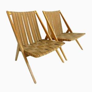 Gartenstühle aus Eiche von Victoria Möbel, 1950er, 2er Set