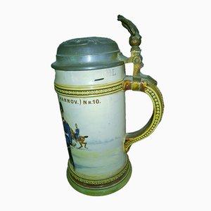 Antiker deutscher Bierkrug aus Steingut & Blech im Jugendstil Villeroy & Boch