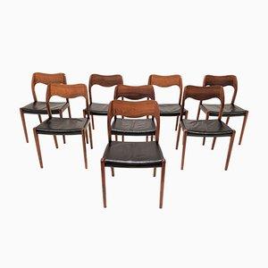 Chaises de Salle à Manger Modèle 71 en Palissandre par Niels Otto Møller pour J.L. Møllers, Danemark, 1960s, Set de 8