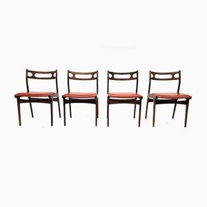 Chaises de Salle à Manger en Skaï et Palissandre par Johannes Andersen pour Uldum Møbelfabrik, Danemark, 1960s, Set de 4