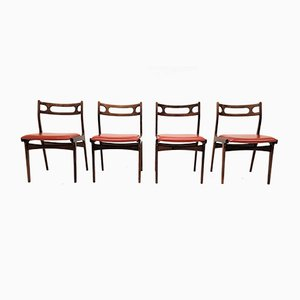 Danish Leatherette and Rosewood Dining Chairs by Johannes Andersen for Uldum Møbelfabrik, 1960s, Set of 4
