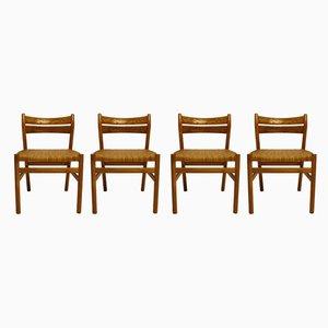 Dänische Esszimmerstühle mit Gestell aus Eiche & Sitzgeflecht, 1960er, 4er Set