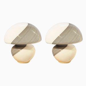 Lámparas de mesa italianas de cristal de Murano de Paolo Venini para Venini, años 60. Juego de 2