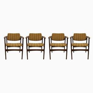 Moderne dänische Amlehnstühle mit Stoffbezug & Gestell aus Teak im skandinavischen Stil von Erik Buch, 1960er, 4er Set