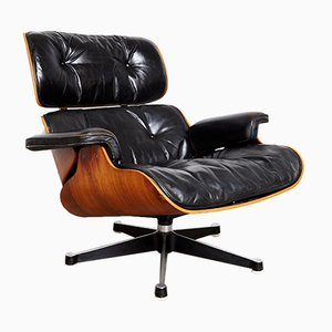 Poltrona in palissandro e pelle di Charles & Ray Eames per Herman Miller, anni '70