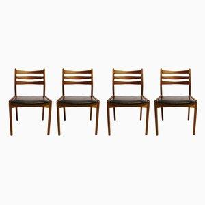 Dänische Modell 323 Esszimmerstühle mit Sitz aus Leder & Gestell aus Teak von Slagelse Møbelværk, 1960er, 4er Set