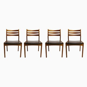 Model 323 Danish Leather and Teak Dining Chairs from Slagelse Møbelværk, 1960s, Set of 4
