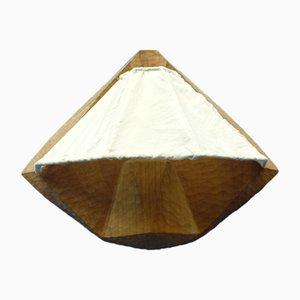 Aplique de tela antropomórfica y madera, años 40