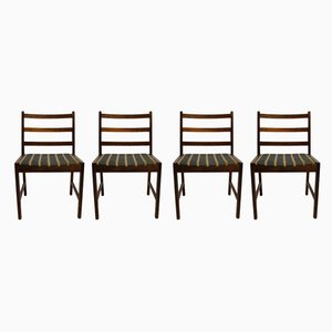 Scandinavian Modern Danish Fabric and Rosewood Dining Chairs, 1960s, Set of 4