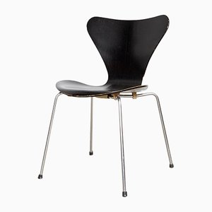 Danish Metal and Veneer Side Chair by Arne Jacobsen for Fritz Hansen, 1960s