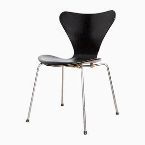 Sedia in metallo e legno impiallacciato di Arne Jacobsen per Fritz Hansen, Danimarca, anni '60