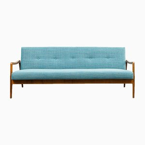 Mid-Century Textile and Walnut Sofa, 1950s