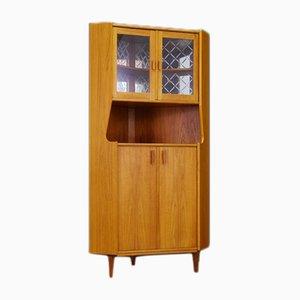 Mueble danés Mid-Century de vidrio y teca, años 60