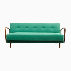 Mid-Century Beech and Textile Sofa, 1950s