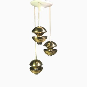 German Brass Cascade Ceiling Lamp by Klaus Hempel for Kaiser Leuchten, 1970s
