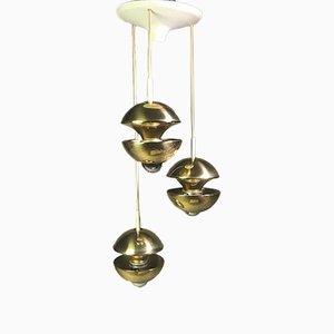 German Brass Cascade Ceiling Lamp by Klaus Hempel for Kaiser Leuchten, 1970s