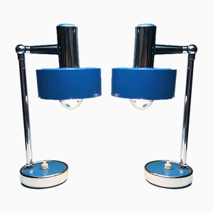 Italian Chrome Plated and Lacquered Table Lamps, 1970s, Set of 2