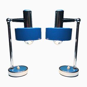 Lámparas de mesa italianas cromadas y lacadas, años 70. Juego de 2