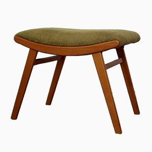 Mid-Century Beech and Velvet Stool, 1950s