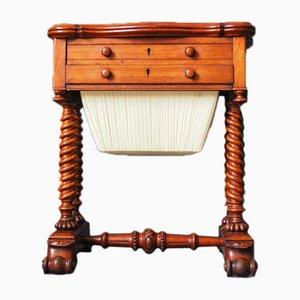 Mesa de costura Imperio antigua de caoba de J. M. Edmond