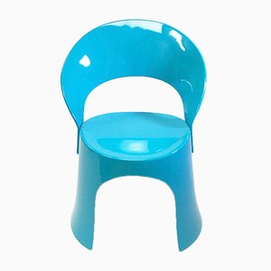 Danish Blue Fiberglass Space Age Dining Chair by Nanna Ditzel for Domus Danica, 1969