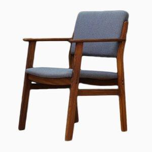Dänischer Mid-Century Armlehnstuhl mit Stoffsitz & Gestell aus Teak, 1960er