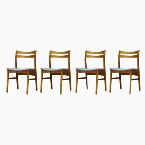 Danish Fabric and Teak Dining Chairs, 1960s, Set of 4