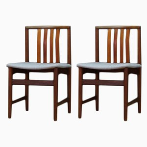 Danish Fabric and Teak Dining Chairs, 1960s, Set of 2