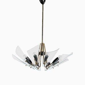 Lámpara de araña Mid-Century de vidrio y latón, años 60