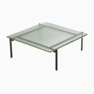 Mesa de centro de acero y vidrio arenado, años 50
