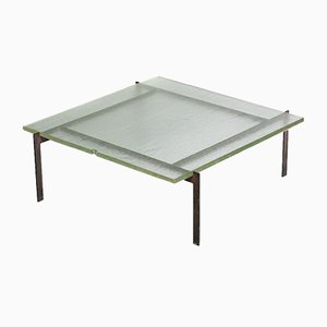 Steel and Sandblasted Glass Coffee Table, 1950s