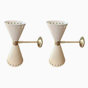 Wall Sconces in Satin Brass from Stilnovo, 1954, Set of 2