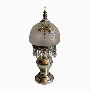 Italienische Mid-Century Tischlampe aus Stahl & Glas, 1960er