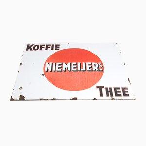 Großes emailliertes industrielles Vintage Tee- & Kaffee-Schild, 1920er