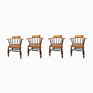 Antique Beech and Elm Armchairs, Set of 4