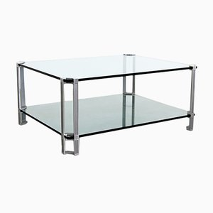 Mid-Century Metal & Glass Coffee Table by Peter Ghyczy, 1970s